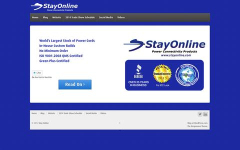 Screenshot of Blog stayonline.com - Stay Online | Power Connectivity Products - captured Sept. 24, 2014