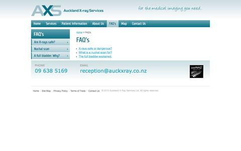 Screenshot of FAQ Page aucklandxray.co.nz - FAQs - captured April 12, 2017