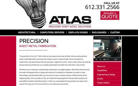 Screenshot of Home Page atlasmfg.com - Precision Sheet Metal Fabrication   Atlas - captured Oct. 4, 2014