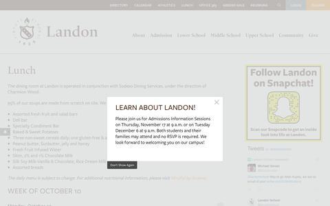 Screenshot of Menu Page landon.net - Lunch - Landon - captured Oct. 21, 2016
