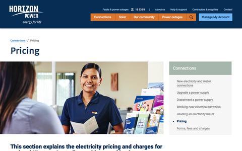 Screenshot of Pricing Page horizonpower.com.au - Power prices | Electricity tariffs | Horizon Power - captured July 22, 2018