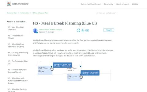 Screenshot of Support Page hotschedules.com - HS - Meal & Break Planning (Blue UI) – Customer Care - captured March 8, 2018