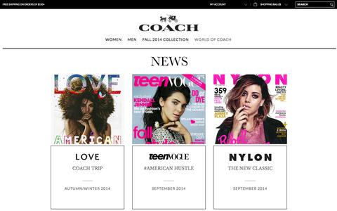 Screenshot of Press Page coach.com - COACH in the News | See Who's Talking About Coach - captured Sept. 18, 2014