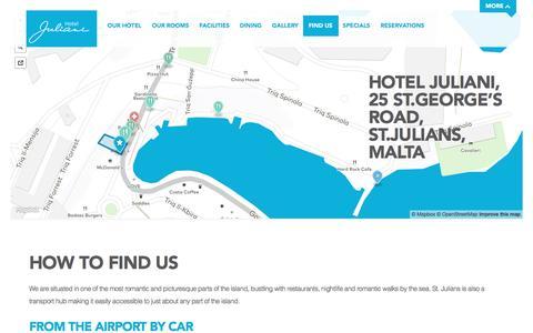 Screenshot of Contact Page hoteljuliani.com - Find Us - Hotel Juliani - captured July 17, 2016