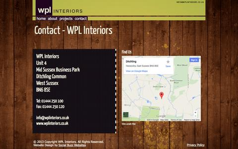 Screenshot of Contact Page wplinteriors.co.uk - Contact - WPL Interiors - captured Oct. 7, 2014