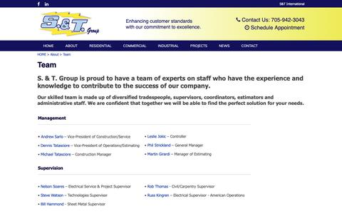 Screenshot of Team Page stgroup.ca - Team - ST Group - captured Oct. 1, 2018