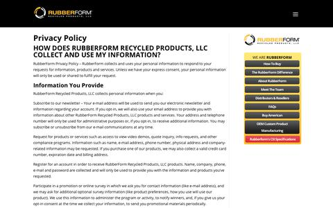 Screenshot of Privacy Page rubberform.com - Privacy Policy | RubberForm® Recycled Products, LLC. - captured Sept. 26, 2018