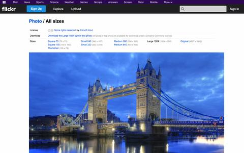 Screenshot of Flickr Page flickr.com - All sizes | London Bridge (Tower Bridge) : Reflection on the River Thames | Flickr - Photo Sharing! - captured Oct. 22, 2014
