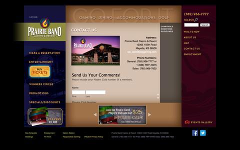 Screenshot of Contact Page pbpgaming.com - Contact Us, Casino, Resort, Hotel Casino, Resort Casino | Casino, Resort, Mayetta, Kansas, Topeka, Kansas City - captured Oct. 2, 2014