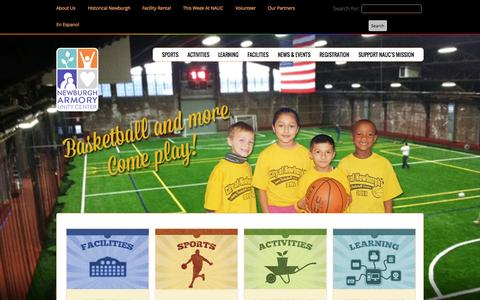 Screenshot of Home Page newburgharmory.org - Newburgh Armory Unity Center (NAUC) is a Community Center in Newburgh - captured Oct. 6, 2014