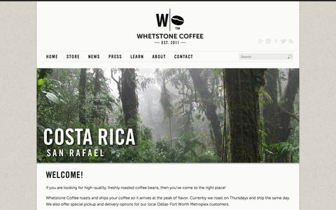 Screenshot of Home Page whetstonecoffee.com - Fresh, handcrafted, artisan coffee | Whetstone Coffee - captured Sept. 30, 2014