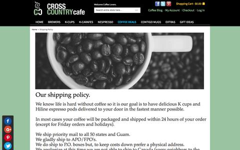 Screenshot of Support Page crosscountrycafe.com - Shipping Policy - captured Dec. 12, 2015