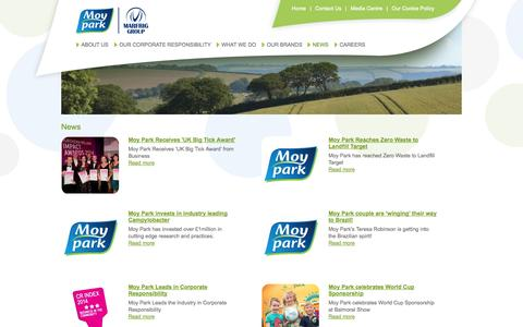 Screenshot of Press Page moypark.com - Welcome to Moy Park Limited - News - captured Sept. 18, 2014