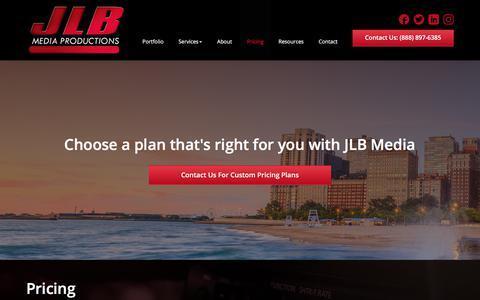 Screenshot of Pricing Page jlbmedia.com - Pricing | JLB Media Productions - captured Oct. 4, 2017