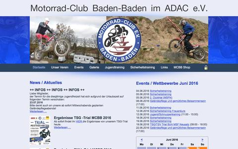 Screenshot of Home Page mcbb.de - Startseite - Motorrad-Club Baden-Baden e.V. - captured June 11, 2016