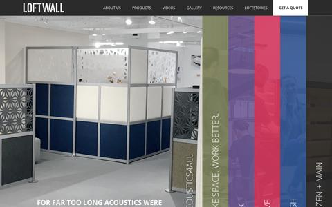 Screenshot of Home Page loftwall.com - Modern Room Dividers, Acoustical Panels, & Partitions | Loftwall - captured Nov. 4, 2018
