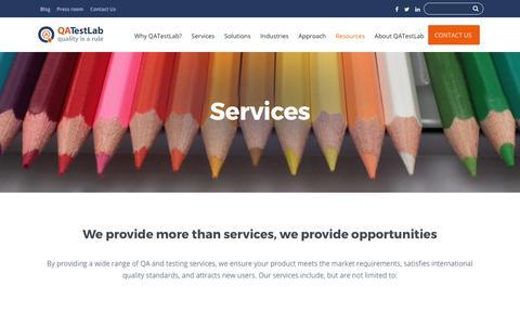 Screenshot of Services Page qatestlab.com - Services we provide – QATestLab - captured July 15, 2018