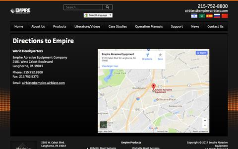 Screenshot of Maps & Directions Page empire-airblast.com - Directions to Empire – Empire Abrasive Equipment - captured Aug. 2, 2017