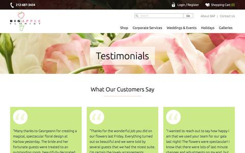 Screenshot of Testimonials Page bigappleflorist.com - What Our Customers Say - captured Feb. 26, 2017