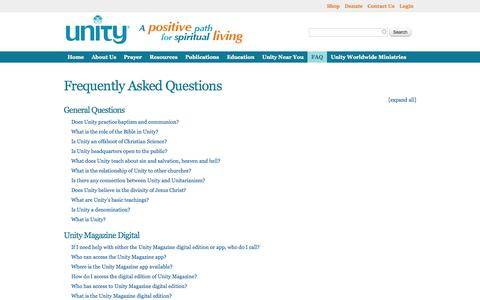 Screenshot of FAQ Page unity.org - Frequently Asked Questions | Unity - captured Sept. 23, 2014
