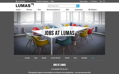 Screenshot of Jobs Page lumas.com - Jobs - Photography, Photo Art, Pictures Online at LUMAS - captured Oct. 22, 2015