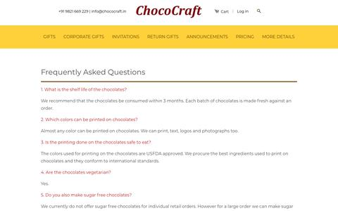 Screenshot of FAQ Page chococraft.in - Queries about shipping and storing chocolates, printed chocolates – CHOCOCRAFT - captured Nov. 4, 2018