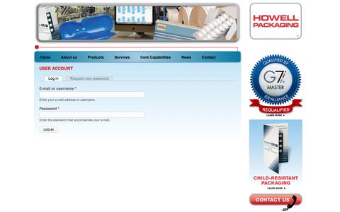 Screenshot of Login Page howellpkg.com - User account | Howell Packaging - captured July 6, 2017