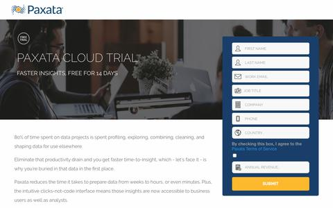 Screenshot of Trial Page paxata.com - Paxata Cloud Trial | Self Serve Data Preparation by Paxata - captured Oct. 31, 2019