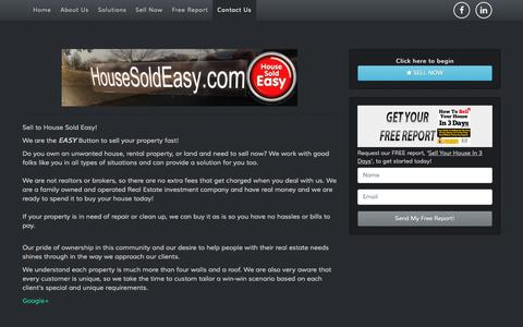 Screenshot of Home Page housesoldeasy.com - House Sold Easy - captured Sept. 30, 2014