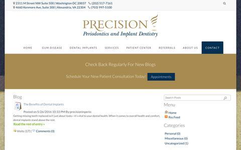 Screenshot of Blog precisioninperio.com - Dental Blog for Drs. Harold Fagan & Justin Zalewsky in Alexandria, VA and Washington, DC - captured June 17, 2016