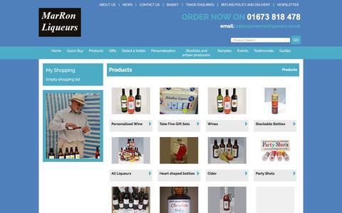 Screenshot of Products Page marronliqueurs.co.uk - Marron Liqueurs Products - captured Oct. 17, 2017