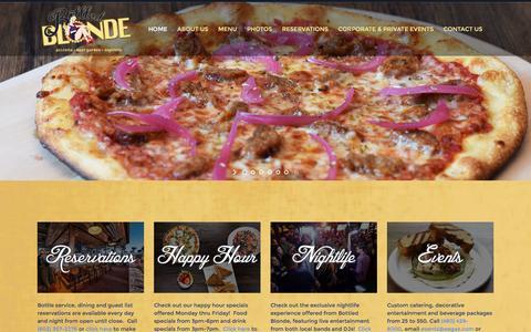 Screenshot of Home Page bottledblondeaz.com - Bottled Blonde | Pizzeria & Beer Garden - captured April 1, 2016
