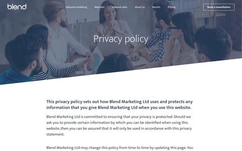 Screenshot of Privacy Page blendb2b.com - Privacy Policy   Blend - captured Jan. 24, 2018