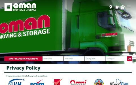 Screenshot of Privacy Page oman.ie - Privacy Policy | Oman Moving & Storage - captured Nov. 29, 2016