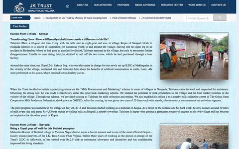 Screenshot of Case Studies Page jktrust.org - J. K. Trust Gram Vikas Yojana | Mission - captured July 27, 2018