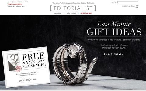 Screenshot of Home Page editorialist.com - Editorialist | Luxury Fashion Accessories Magazine & Online Store - captured Dec. 23, 2015