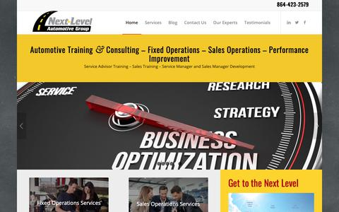 Screenshot of Home Page nextlevelautomotivegroup.com - Automotive Consulting - Service Advisor Training & Sales Training - captured Oct. 20, 2018