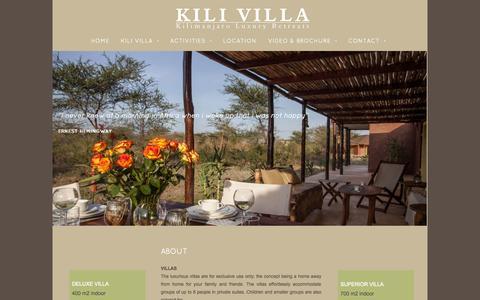 Screenshot of About Page kilivilla.com - Kili Villa - KILI VILLA - captured Nov. 3, 2014
