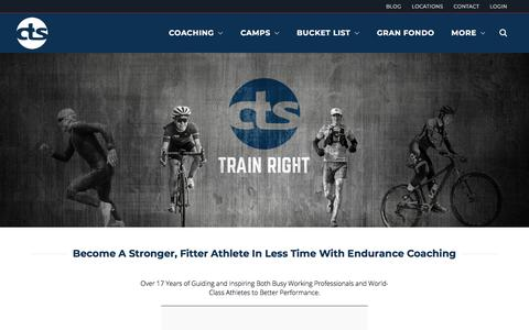 Screenshot of Home Page trainright.com - Carmichael Training Systems Professional Endurance Coaching & Camps - captured April 23, 2018