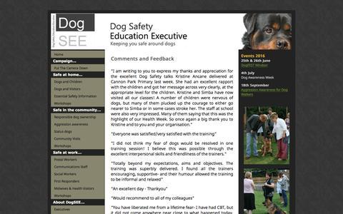 Screenshot of Testimonials Page dogsee.org - Dog Safety Education Executive - captured Nov. 24, 2016