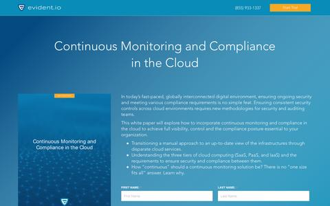 Screenshot of Landing Page evident.io - Continuous Monitoring and Compliance in the Cloud - Whitepaper - captured Dec. 13, 2016