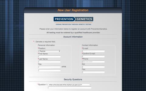 Screenshot of Signup Page preventiongenetics.com - New User Registration - captured July 16, 2016