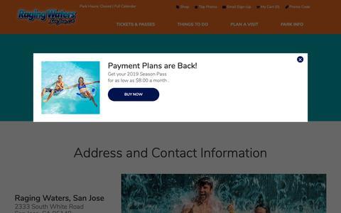 Screenshot of Contact Page rwsplash.com - Contact Us | Raging Waters San Jose - captured Oct. 4, 2018