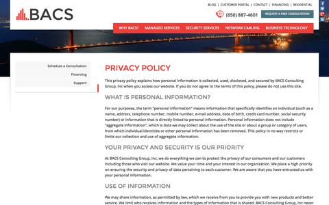 Screenshot of Privacy Page bacomputersolutions.com - BACS: Online Privacy Policy - captured Nov. 22, 2016
