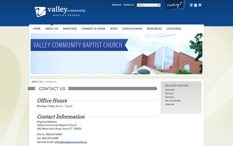 Screenshot of Contact Page Maps & Directions Page valleycommunity.cc - Valley | Contact Us - captured Oct. 27, 2014