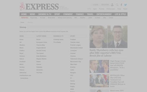 Screenshot of Site Map Page express.co.uk - Express. Home of the Daily and Sunday Express - captured Oct. 18, 2018
