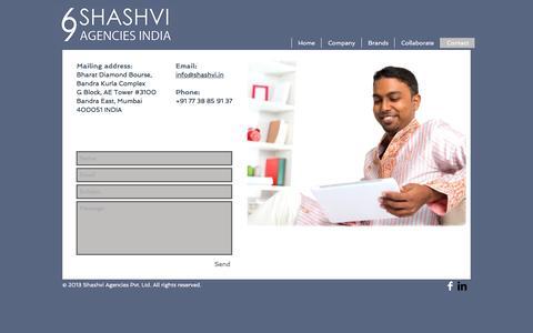 Screenshot of Contact Page shashvi.in - shashvi-agencies | Contact - captured Dec. 21, 2016