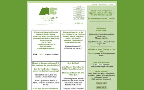 Screenshot of Home Page literacygreenbay.org - Home for Literacy Green Bay - captured Oct. 2, 2014