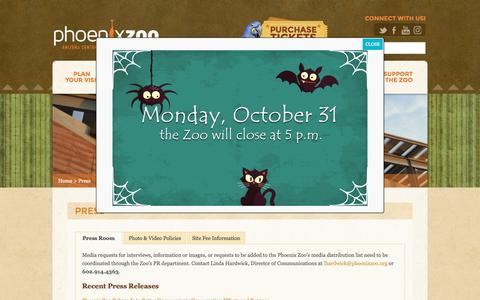 Screenshot of Press Page phoenixzoo.org - Press - Phoenix Zoo - captured Oct. 30, 2016