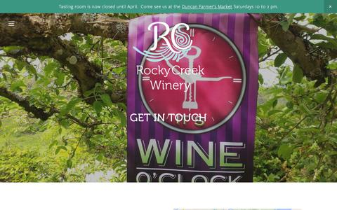 Screenshot of Hours Page rockycreekwinery.ca - Hours and Contact — Rocky Creek Winery - captured Feb. 27, 2016
